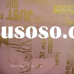 Gold foil / golden foil-stamp printed polyester fabric(ISO9001:2000)