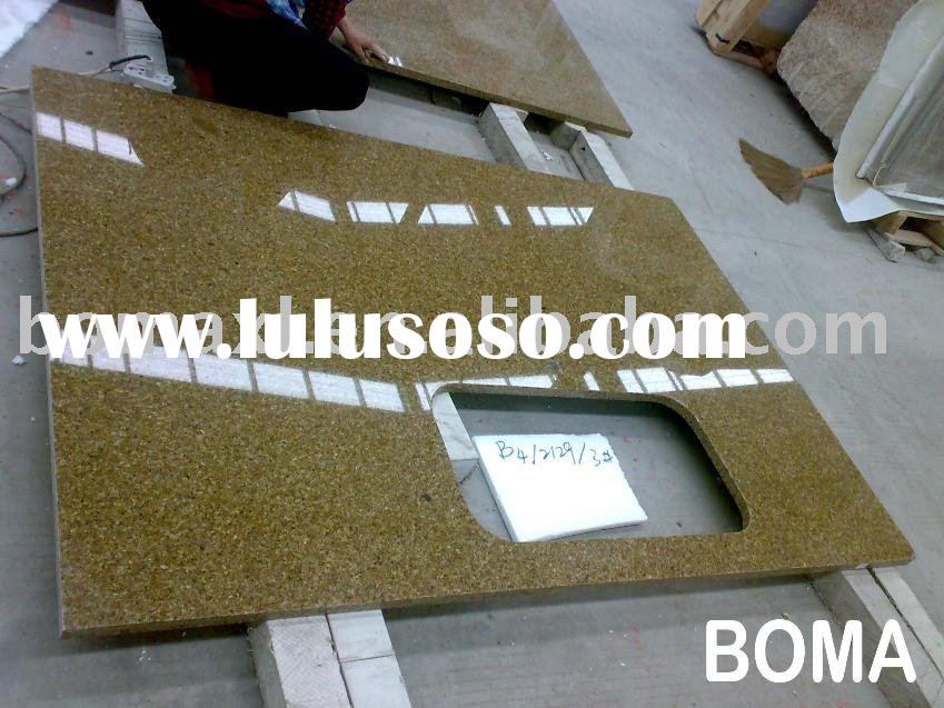 Golden Leaf Eased Edge Granite Island Kitchen Countertop