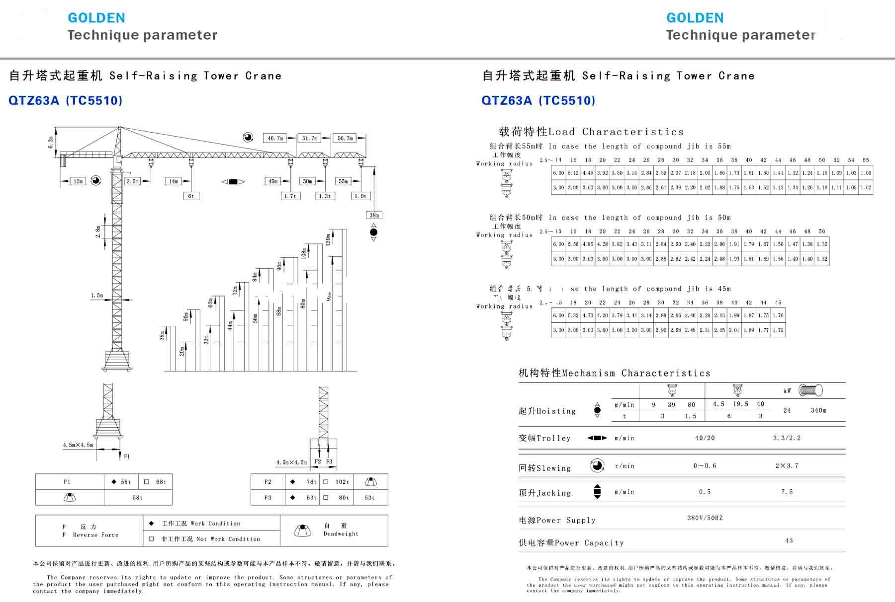 Golden tower crane model specification 5510.