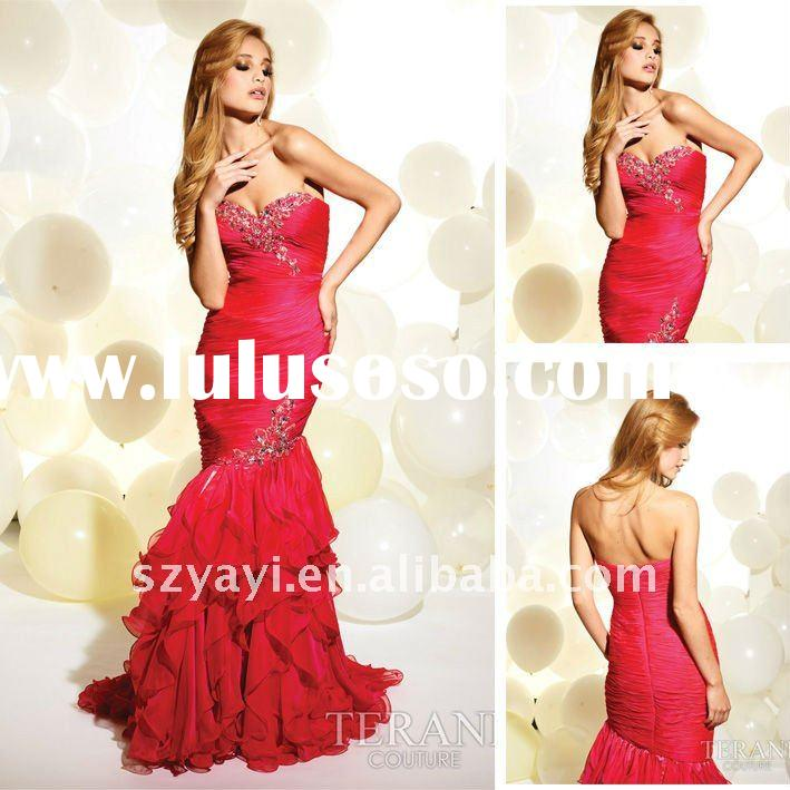 Gorgeous 2012 Custom-made Mermaid Sweetheart Red Floor-length Chiffon Evening Dresses Prom Dresses P