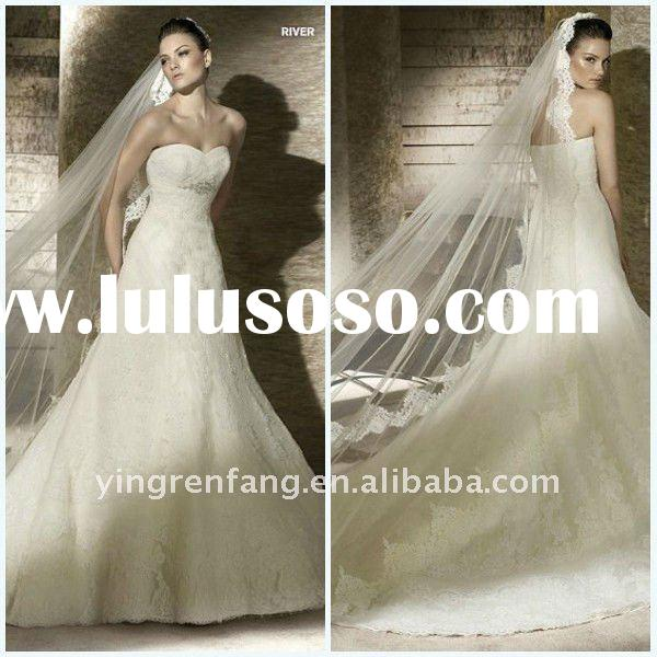 Gorgeous Appliqued Sweetheart A-Line Satin Court Train lace 3 4 sleeve wedding dress