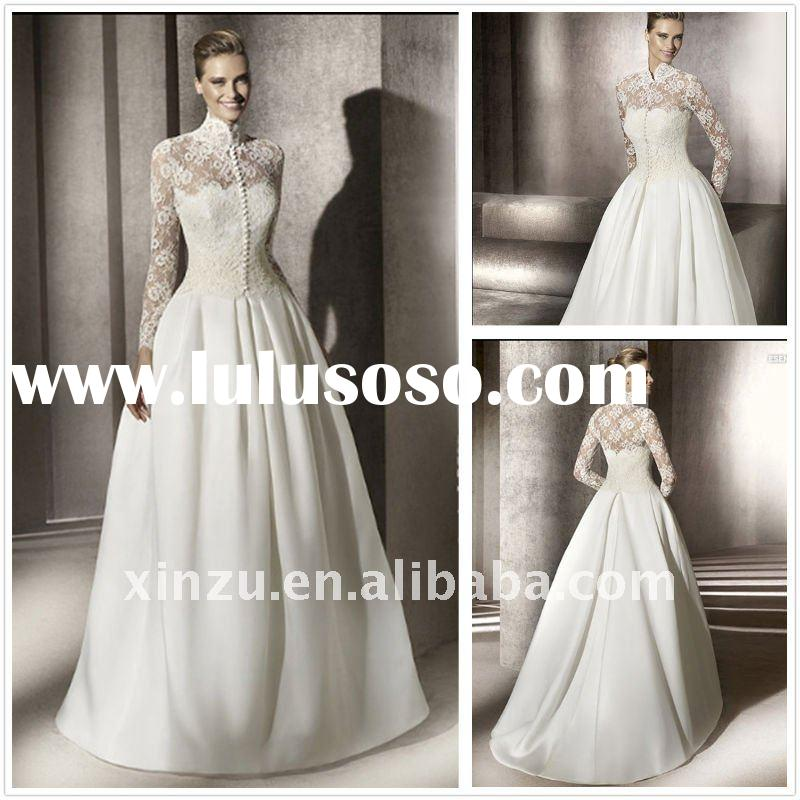 Gorgeous Lace High Neck Long Sleeve Wedding Dress T-3032