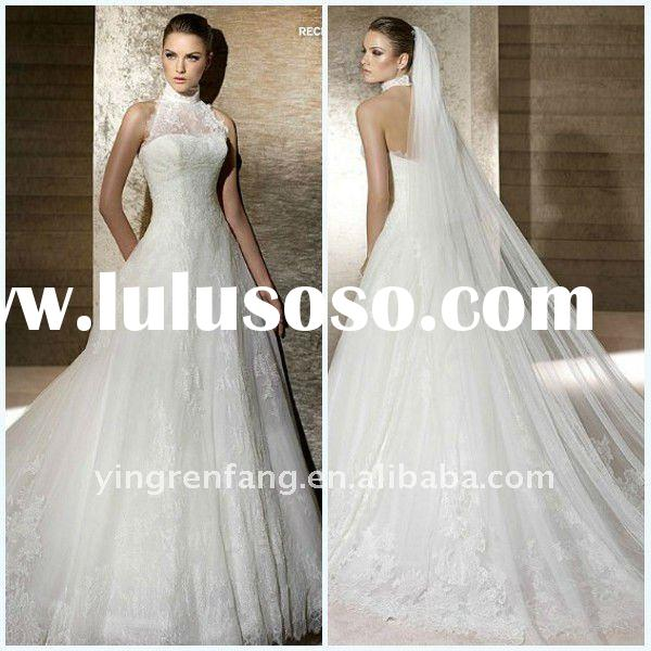 Gorgeous Sweetheart Appliqued High Collar A-Line Satin Court Train lace 3 4 sleeve wedding dress