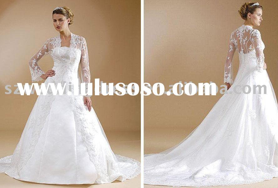 Gorgeous a line satin wedding dress with lace overcoat