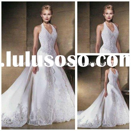 Hot Sale White Satin Halter Backless Lace Wedding Dresses