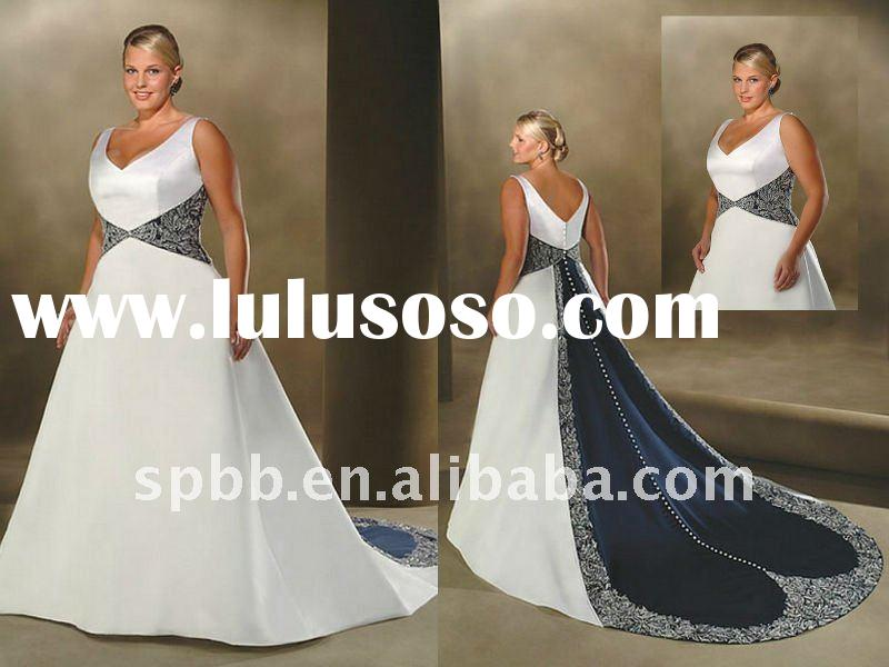 Hot sleeveless trumpet P-035 lace satin white navy fashion plus size wedding dress