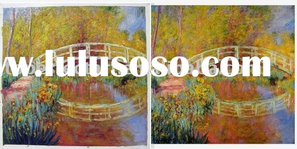 Impressionist painting,Monet arch bridge oil painting,100% handmade,high quality with low price