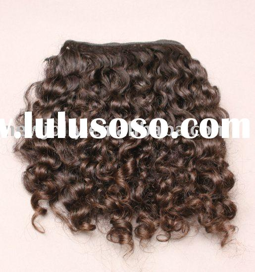 Indian remy hair weft, the curly and short hair weft