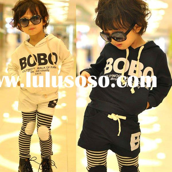 Last design fashion fleece hoodies+pants korea style children's clothing set children&#3