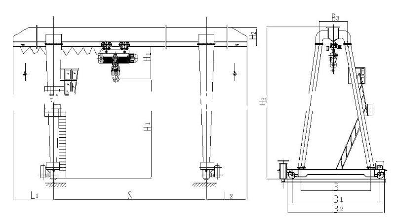 Overhead Crane Autocad Drawing : Gantry crane autocad drawing