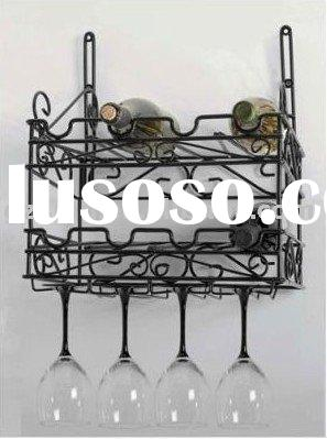 Metal Bottle & Glass Wall Wine Rack