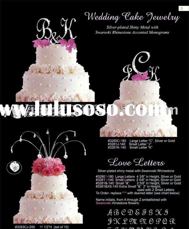 rhinestone monogram wedding cake toppers
