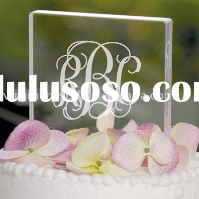 Monogram Wedding Cake Topper Square Crystal