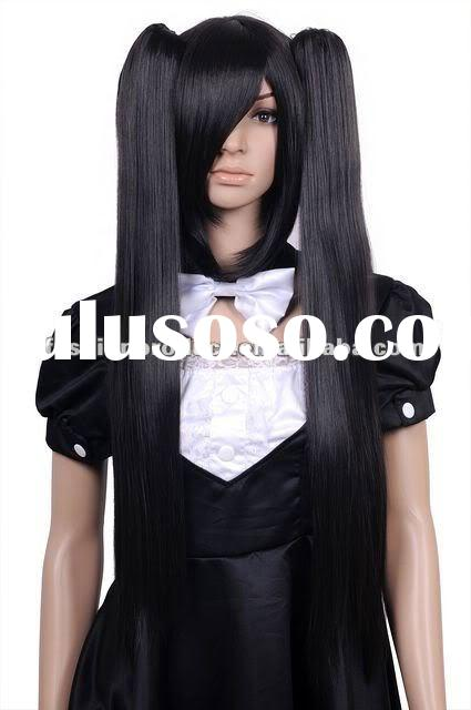 New Black Long Straight Anime Cosplay Party Hair wig + 2 Clip-on Ponytails YL97