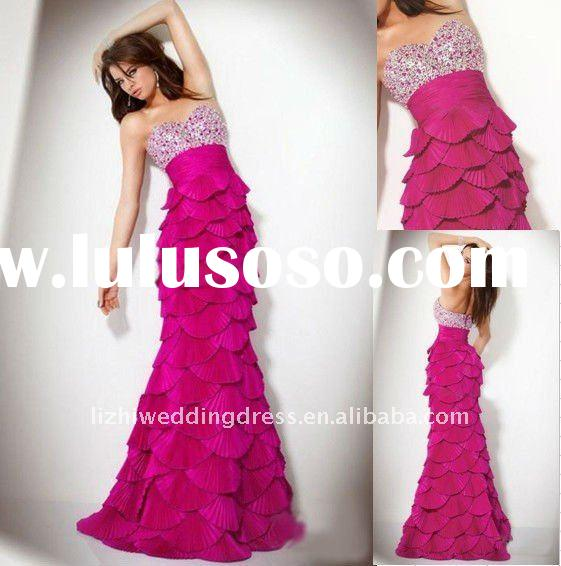 New Fashion Strapless Full Length Beaded tiered skirt Fuchsia Prom Dresses 2012 cheap