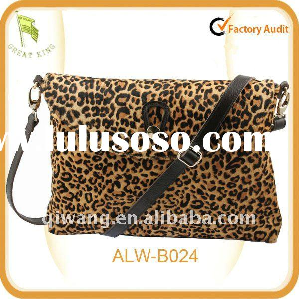New Real Leather horsehair Leopard Shoulder HandBags