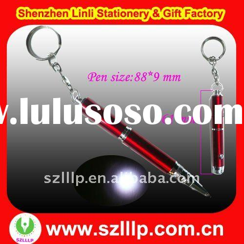 Offer mini sized metal led keychain pen with torch light for promotion