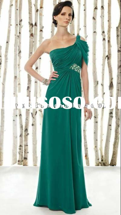 One-shoulder full length ruffles beaded mother of the bride dresses