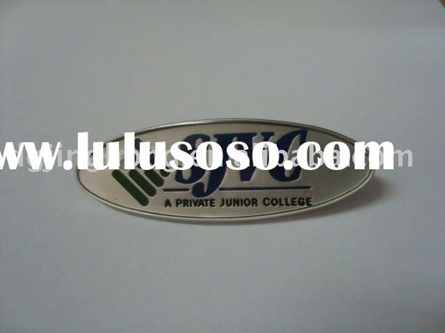 "Oval metal logo plate in matta nickel color with ""SJVC"" logo use for bag (56.5*19*2.2mm)"