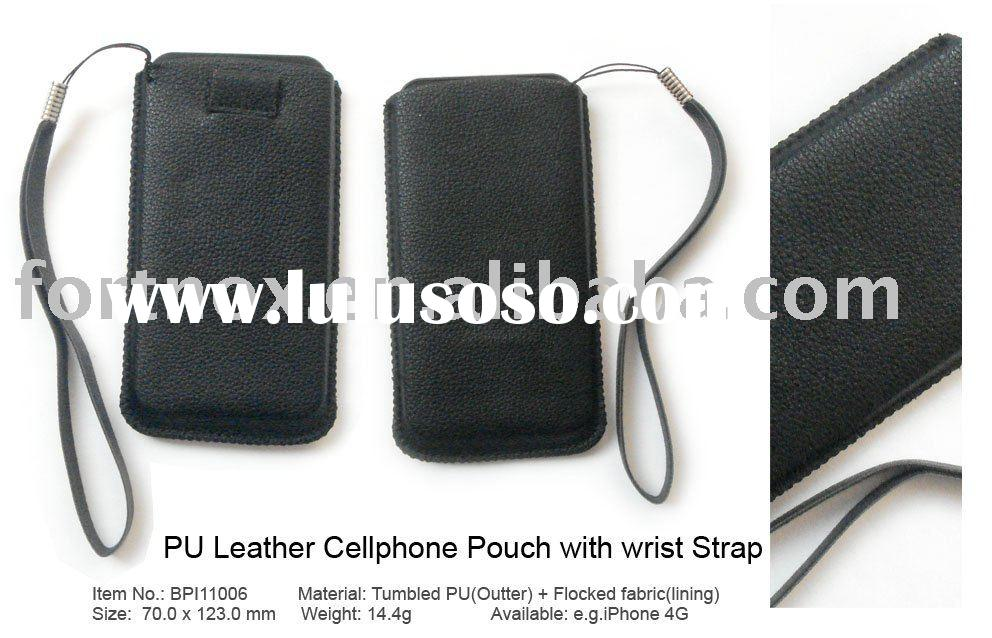 PU Leather Cellphone Pouch with Wrist Strap for iPhone 4G