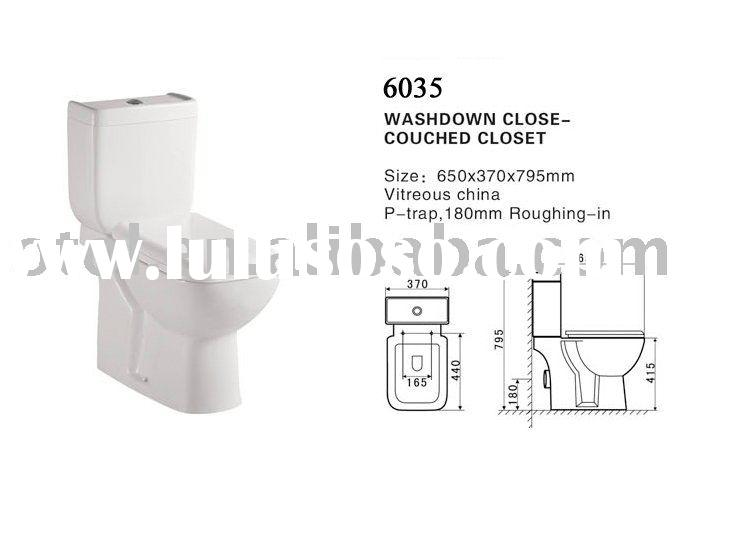P-trap or S-trap Washdown Two piece toilet (W.C SETS) 6035