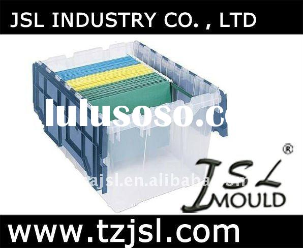 Plastic Storage Hanging File Box with Attached Lid Mould