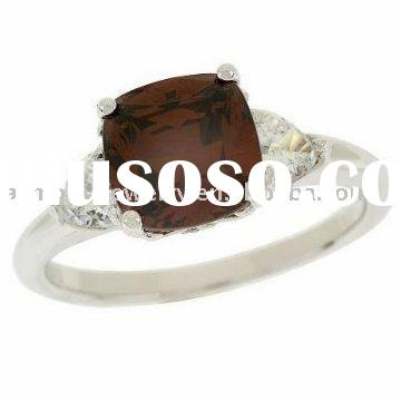 Platinum Clad Sterling CZ Chocolate Cushion Ring in 925 Silver