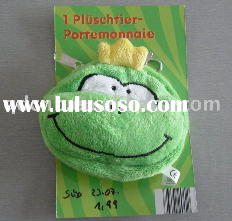 Plush Coin Bag Coin Purse Coin Wallet Coin Pouch Coin Case Frog Animal with Back card