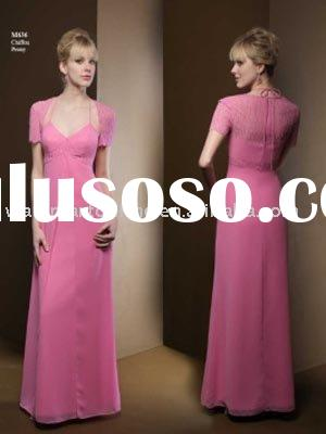 Pop Sell A-line Chiffon Long Short Sleeve Bridesmaid Dresses BD276