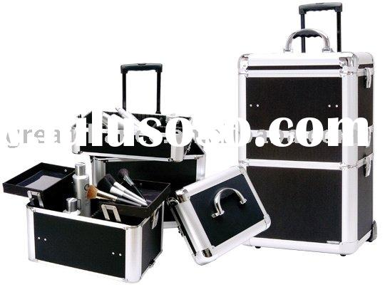 Pro Series Black Aluminum Makeup Case on Wheels
