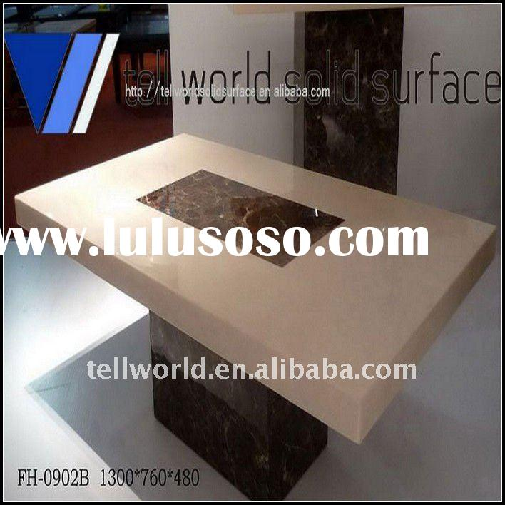 Rectangle shape artificial marble dining table Solid surface table