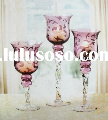 Set 3 Glass candle holder