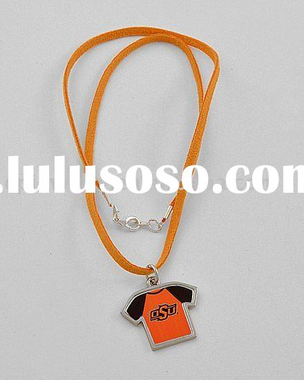 Silvertone / Orange Cord / Ohio State University / Shirt Shaped Pendant Necklace