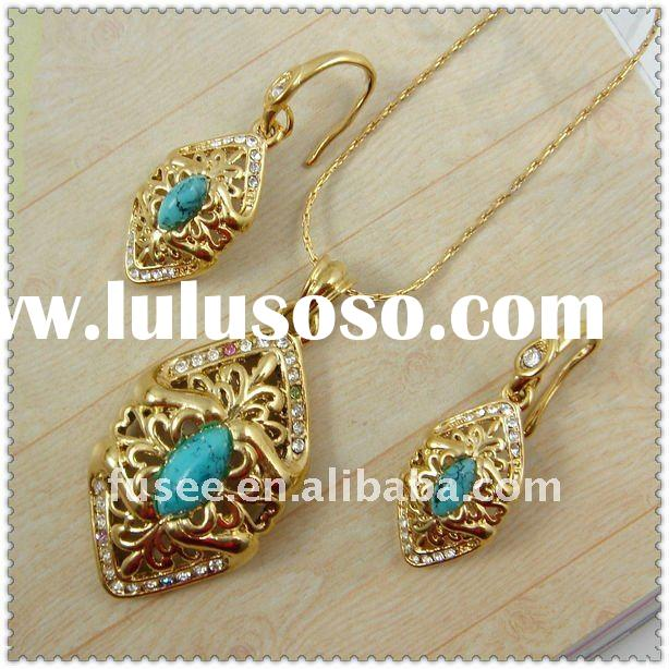 Special Design Turquoise Series 18K Gold Plating Fashion Jewelry Set