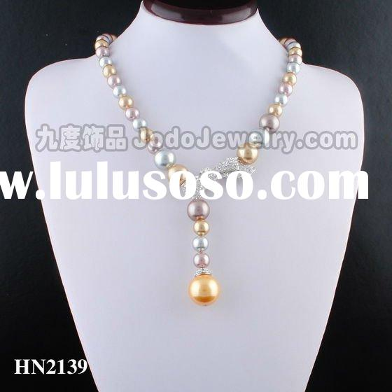 The newest fashion colorful imitation pearl necklace costume jewelry 2011