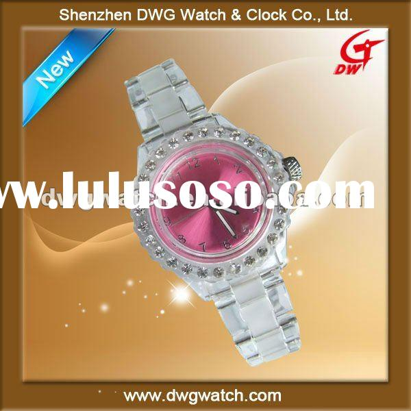 Transparent plastic quartz watch with Czech stones matt and shiny strap/P0022