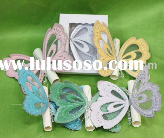 Unique butterfly shape greeting card with scroll card in invitation box-T192