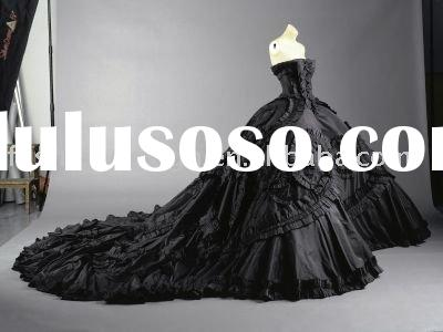 VH839 Unique ball gown black satin real strapless long trailing wedding dress