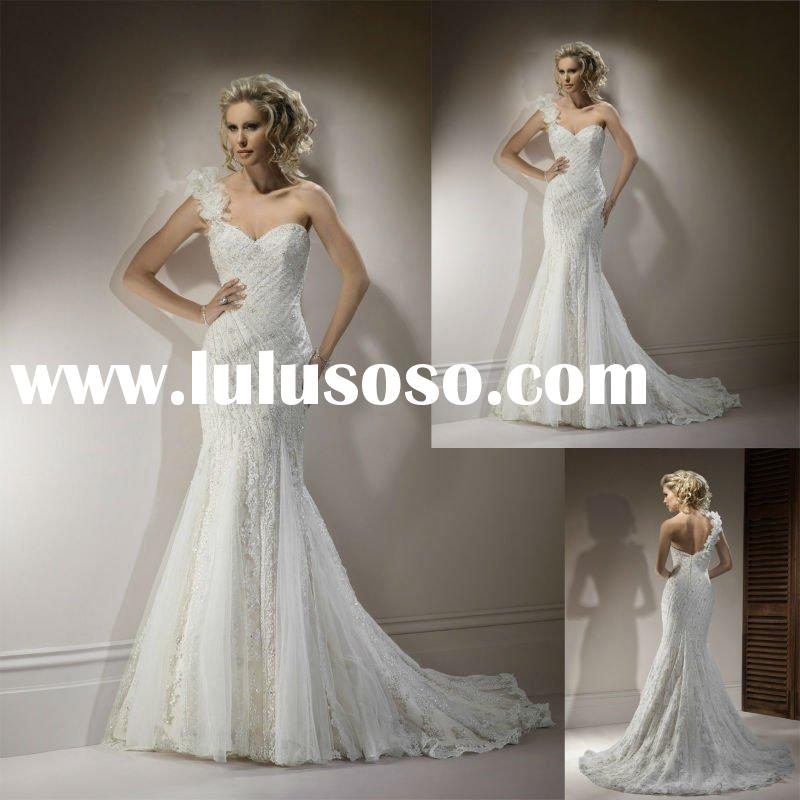 W1473 High Quality Lace One shoulder Mermaid Beaded Wedding Gown