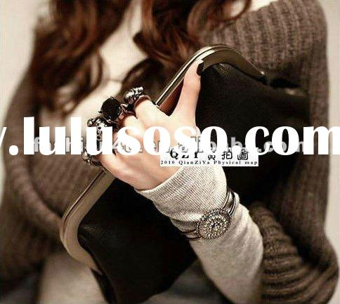 Wholesale PU Leather Skull Evening Clutch Bags Black