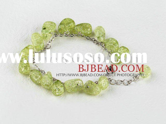 Yellow green color burst pattern crystal bracelet with extendable chain