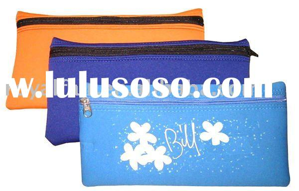 Zipper textile neoprene pencil case bag holder with floral printing and quality stitching