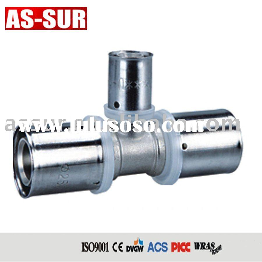 brass pressure fitting with stainless steel sleeve for pex pipe with DVGW WRAS CE ACS