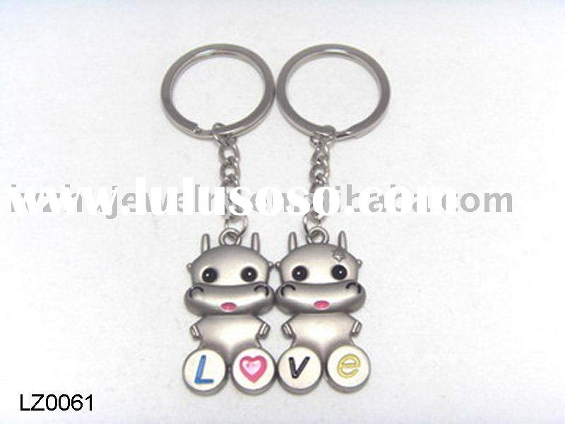 charm animal key ring for lovers with word,l o v e