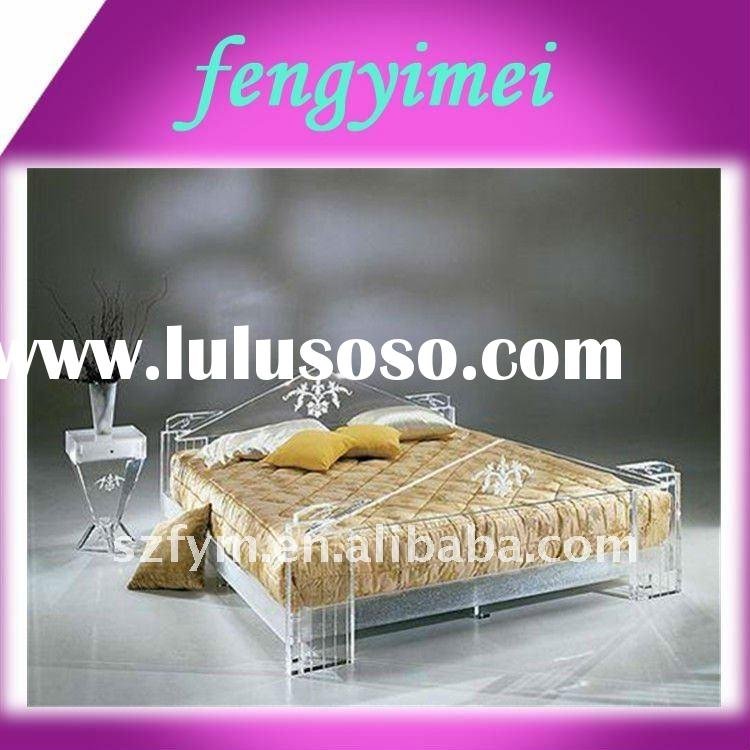clear acrylic bed and night stand/transparent plxiglass furniture/acrylic furniture FYM-1059