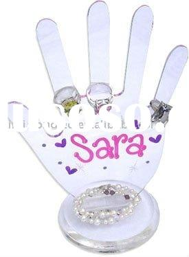 clear acrylic ring holder or hand-shaped ring display stand