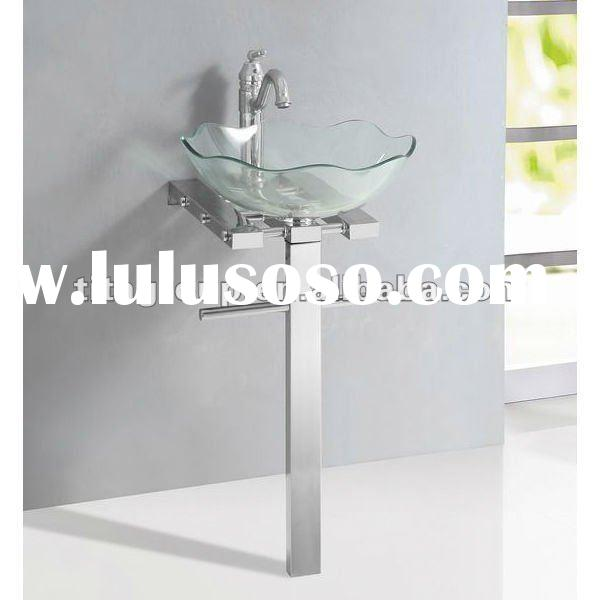 clear glass wash basin stand with #304 Stainless steel base