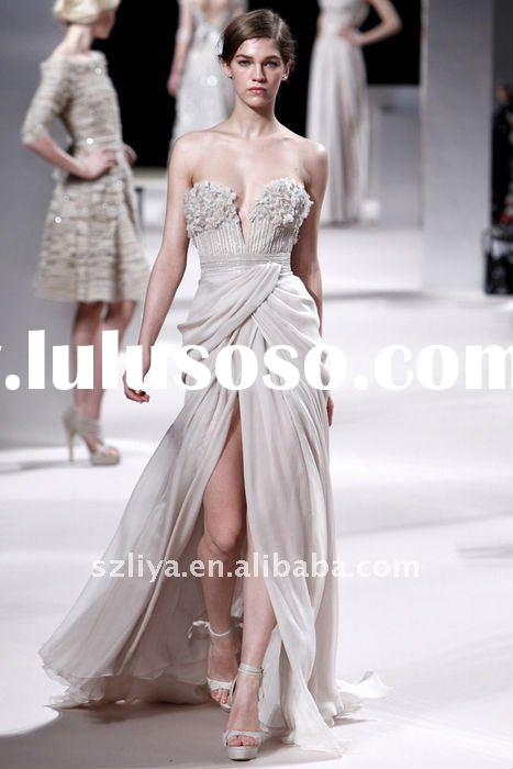 elie saab style customer made off-shoulder chiffon evening dress