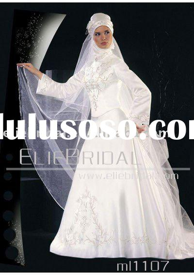 fashion embroidered beaded muslim wedding dress with hijab