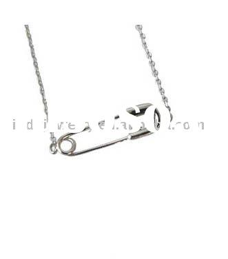 fashion jewelry, promotional ball chain safety pin pendant necklace